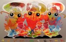 Ad Verstijnen - Drie koks met passie - acryl - 140 - 90 cm - 3450