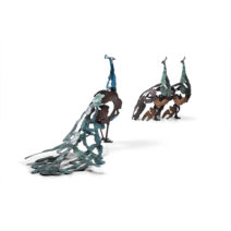 Jozephine Wortelboer - Grote Pauwhaan en Pauwhennen samen - brons - 207 en 206 - 30000