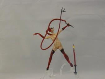 Albert Hendriks - Vrouw met rode zweep - Glas - 20cm - € 350