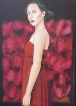 Willem van Schijndel - Roxane Rossel Helwegen in red - 50 x 70 cm € 4200,--
