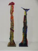Frank Biemans, King & Queen, glas, H87 en H77cm. € 490,= en € 460,=