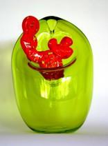 Fredy E Wubben - Flora Vegetal - 2x geblazen glas - hoogte 22cm -€ 450,00 - No. 13-2e VERKLEIND
