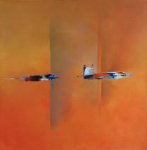 Paula Evers - Compositie in oranje - gem. techniek - 80x80 - nr. 168 - lijst 140 - 2790_754x768