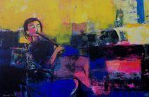 Amer Bader Fluitspeler 120 x 80 cm Acryl op canvas € 3.500,-_1024x673