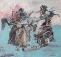 Tahseen al Zaidi Dance in blue 90 x 90 cm Acryl op canvas € 3.800,-_813x768
