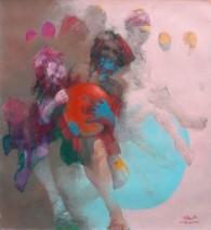 Tahseen al Zaidi Escape balloon 100 x 100 cm Acryl op canvas € 3.900,-_708x768