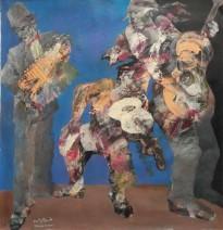 Tahseen al Zaidi Oriental musicians 100 x 100 cm Acryl on canvas € 3.900,-_743x768