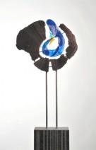 Blauwe bloem 2 - glas, stee, brons - 86 cm - 2750_384x600