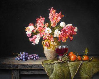 457 - Stilleven met tulpen mandarijnen en druiven - 40x50 - 2750_960x768