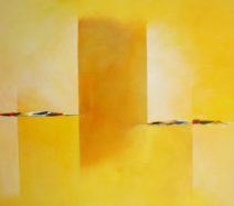 Paula Evers - Compositie in geel - gem. techniek - 100x120 - 3420 lijst 220